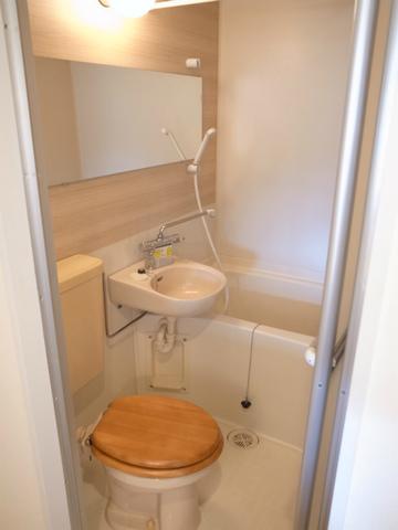3点ユニットは既存利用。木製の便座と横長の鏡で他の物件と差別化します。