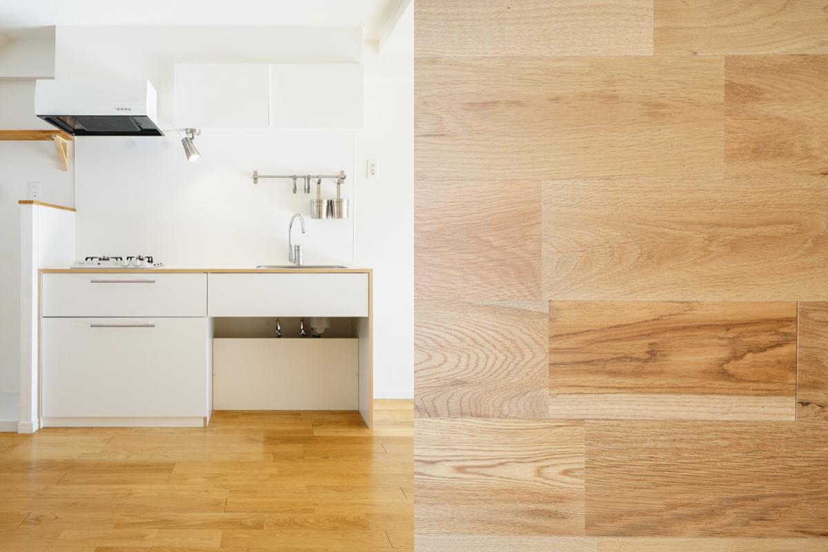 キッチンと床材サンプル写真|お手頃価格で工事可能