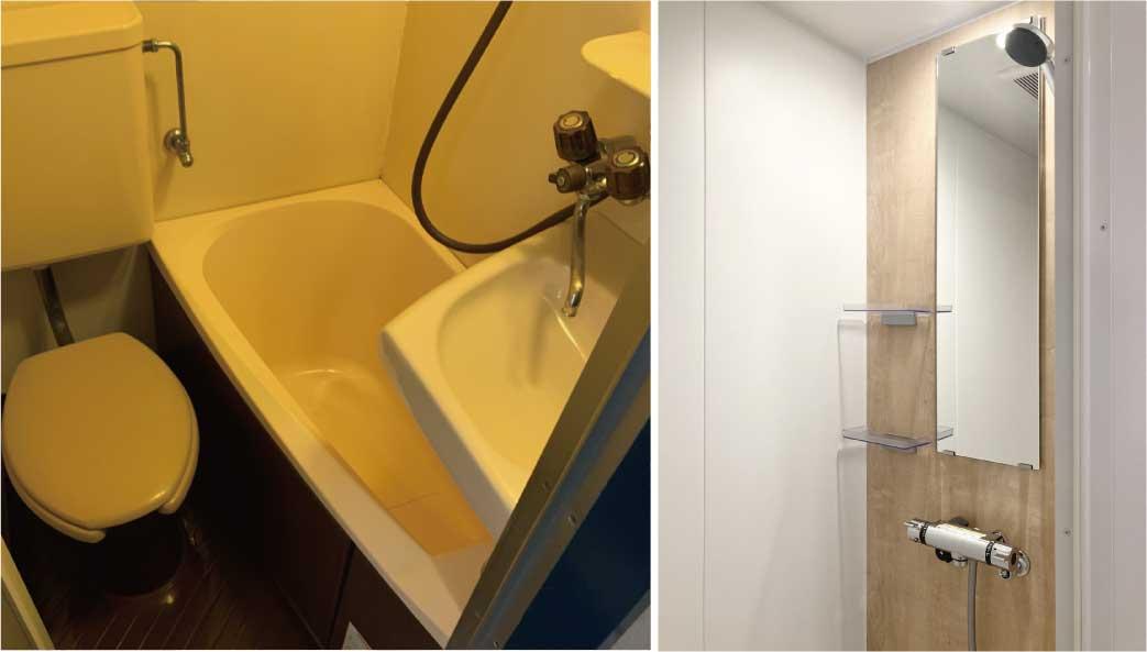 シャワーブース新設によって、独立洗面台を新設
